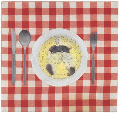 """ללא כותרת (אבא), 1996, שמן על מפת שולחן, 43 x 40 ס""""מ"""