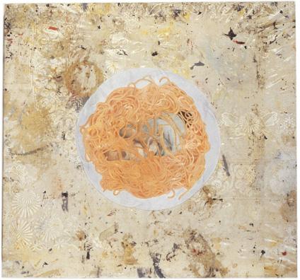"""ללא כותרת (אמא), 1996, שמן על מפת שולחן, 43 x 40 ס""""מ"""