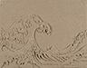 Homage to Hokusai, 2019, kinetic sand, wood drawer, 32 x 40 x 5 cm