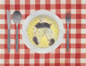 Untitled (Dad), 1995, oil on tablecloth, 40 x 43 cm