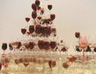 Untitled, wine glasses, pigment, water, dimensions variable